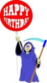 Free Stock Photo: Illustration of the grim reaper with a birthday balloon