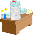 Free Stock Photo: Illustration of a desk with stacks of paper