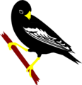 Free Stock Photo: Illustration of a black bunting perched on a branch
