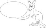 Free Stock Photo: Illustration of a kangaroo with a blank text bubble