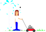 Free Stock Photo: Illustration of a man with a lawn mower and a sprinkler