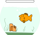 Free Stock Photo: Illustration of a cartoon goldfish in a bowl