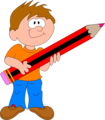 Free Stock Photo: Illustration of a cartoon boy with a giant pencil