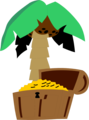 Free Stock Photo: Illustration of a treasure chest and a palm tree