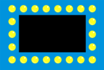 Free Stock Photo: Illustration of a blue border with yellow dots