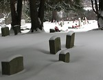Free Stock Photo: US flags and tombstones in a snow covered graveyard