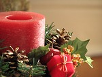 Free Stock Photo: Closeup of a red Christmas candle