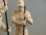 Free Stock Photo: Statues of men working on train tracks