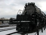 Free Stock Photo: Front view of a steam locomotive in the snow