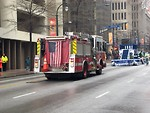 Free Stock Photo: A firetruck with an American flag in the 2009 Atlanta Saint Patricks Day Parade