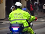 Free Stock Photo: An Atlanta police officer on a motorcycle at the 2009 Atlanta Saint Patricks Day Parade