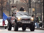 Free Stock Photo: A patriotic painted truck with soldiers in the 2009 Atlanta Saint Patricks Day Parade