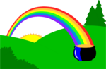 Free Stock Photo: Illustration of a pot of gold at the end of a rainbow