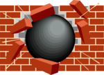 Free Stock Photo: Illustration of black ball smashing through a brick wall