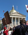 Free Stock Photo: Protesters with signs in front of the State Capitol building at the 2009 tax day tea party in Atlanta, Georgia