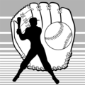 Free Stock Photo: Illustration of baseball equipment and a batter silhouette