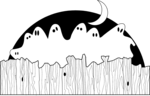 Free Stock Photo: Illustration of ghosts sitting on a fence