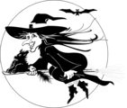 Free Stock Photo: Illustration of a witch flying on her broomstick