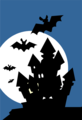 Free Stock Photo: Illustration of a haunted house with bats
