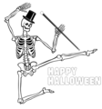 Free Stock Photo: Illustration of a dancing skeleton with halloween text