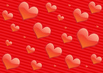 Free Stock Photo: Illustration of hearts on a red background