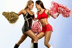Free Stock Photo: Two beautiful Asian cheerleaders