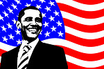 Free Stock Photo: An illustration of Barack Obama with an American Flag background
