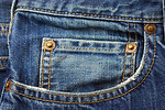 Free Stock Photo: Close-up of a blue jean pocket