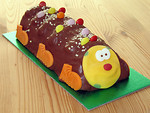 Free Stock Photo: A chocolate cake shaped like a caterpillar
