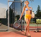 Free Stock Photo: A beautiful blond in a bikini on a tennis court