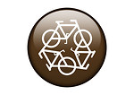 Free Stock Photo: A brown recycling symbol of bicycles on a white background