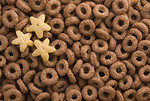 Free Stock Photo: Close-up of chocolate ring breakfast cereal with star shapes