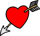 Free Stock Photo: Illustration of a heart with an arrow through it