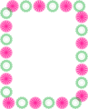 Free Stock Photo: Illustration of a blank frame border with pink and green shapes