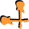 Free Stock Photo: Illustration of a lower right frame corner of orange guitars