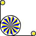 Free Stock Photo: Illustration of a lower left frame corner with a yellow and blue pinwheel shape