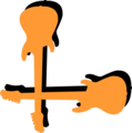 Free Stock Photo: Illustration of a lower left frame corner with orange guitars