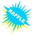 Free Stock Photo: Illustration of a blue and yellow raffle sign