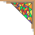 Free Stock Photo: Illustration of an upper right frame corner with stained glass
