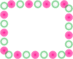Free Stock Photo: Illustration of a blank frame border of pink and green shapes