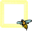 Free Stock Photo: Illustration of a blank honeycomb frame with a bee