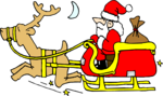 Free Stock Photo: Illustration of Santa on a sled with a reindeer