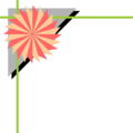 Free Stock Photo: Illustration of an upper left frame corner with a pinwheel shape