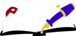 Free Stock Photo: Illustration of an open journal and a pen