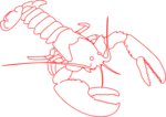 Free Stock Photo: Illustration of a red lobster outline