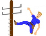 Free Stock Photo: Illustration of a worker on a telephone pole
