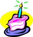 Free Stock Photo: Illustration of a slice of birthday cake with a candle