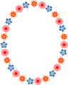 Free Stock Photo: Illustration of a blank frame border of red and blue shapes