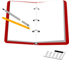 Free Stock Photo: Illustration of an organizer with pens and a calculator
