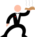 Free Stock Photo: Illustration of a waiter with a tray of food